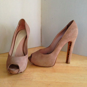 Herve Leger Brisa Open Toe Heels Taupe Suede Shoes
